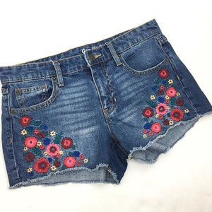 Gap Sexy Boyfriend Denim Shorts Floral Embroidered